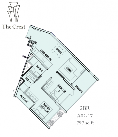 The Crest 2 bedrooms Twr 105