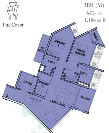 The Crest 3 bedrooms Twr 105